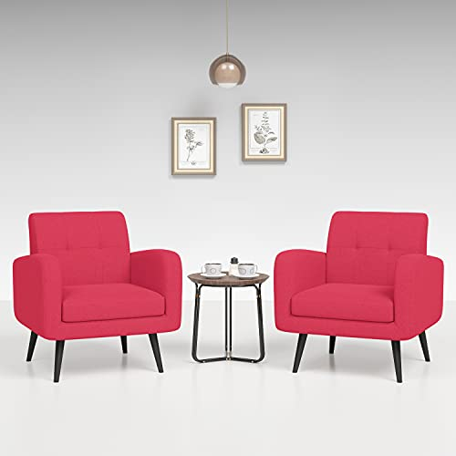 JustRoomy Mid Century Accent Chair Tufted Fabric Armchair Modern Living Room Chair Comfy Leisure Lounge Chair Bedroom Office Single Sofa Side Chair with Removable Seat Cushion, Set of 2, Red
