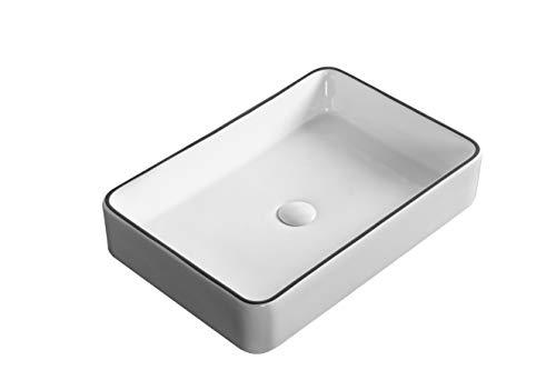 Waschbecken Aufsatzwaschbecken Waschtisch Handwaschbecken Rechteckig Schwarz Weiß hochwertige Keramik Hochglanz mit Lotus Effekt, Farbe: Rechteckig Schwarz/Weiß 3