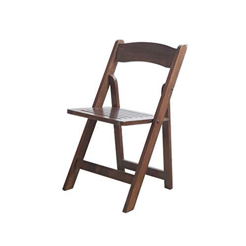 ECSD Tout en Bois Massif Chaise De Dossier Pliable Chaise De Salle À Manger Chaise De Loisir Simple Et Portable Économie De Place Chaise pour Adulte (Couleur : Walnut Color)