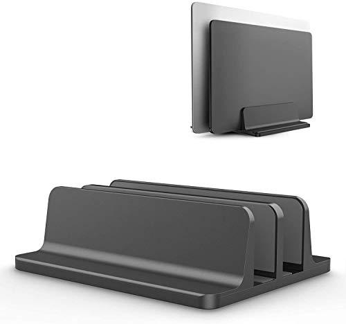 YiYunTE Soporte vertical para ordenador de aluminio de doble cuna, soporte doble para doble escritorio, para ahorrar espacio, doble base ajustable para MacBook, portátil, PC, etc.