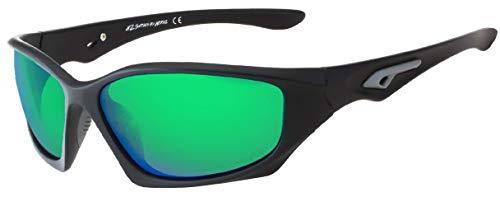 Polarized Sunglasses for Men - Premium Sport Sunglasses - Perfect for Fishing, Running and Driving - Matte Black Frame - Emerald Green Mirror Lens - HZ Series Pro