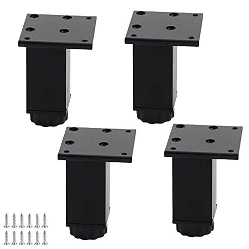 4 patas de metal para muebles, de aleación de aluminio, ajustables, de repuesto, con tornillos