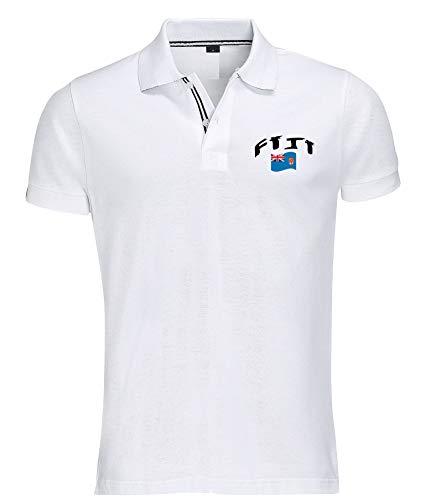 Supportershop Poloshirt Rugby Fidji Unisex S weiß