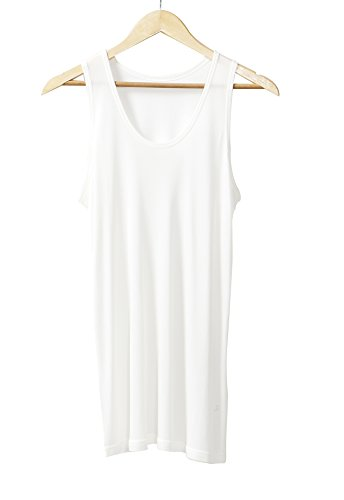 Men's Pure Mulberry Silk Knit Tank Top Men Silk Sleeveless T-Shirts (White, L)