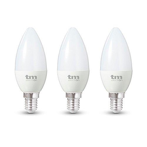 TM Electron Bombillas De Vela LED E14, 6 W, Blanco Cálido, 3 Unidades