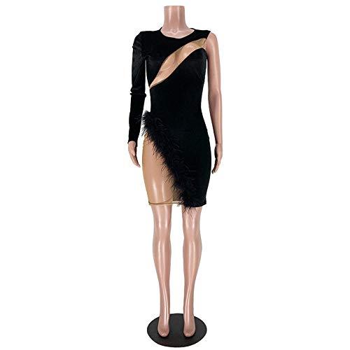 Vestidos De Fiesta Vestir Dress Mujer Nia Disfraz De Clubwear con Abertura Lateral con Detalle De Plumas para Mujer-Negro_S