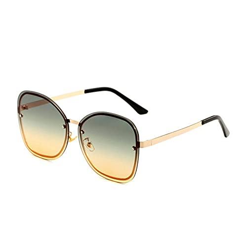 JINZUN Gafas de Sol sin Montura de Color, película oceánica, Gafas de Sol, fotografía callejera, Espejo con protección Solar, Gafas de Moda Anti-Ultravioleta, Montura Dorada, Verde y Amarillo