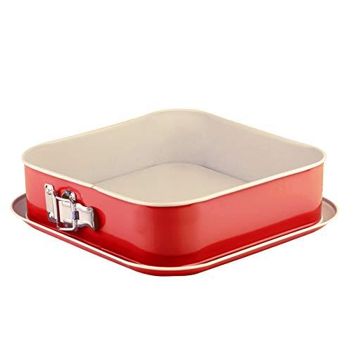Grizzly Springform, viereckige Backform 24x24 cm, Rot-Creme, mit Auslaufschutz, Antihaftbeschichtet, hohe, quadratische Kuchenform