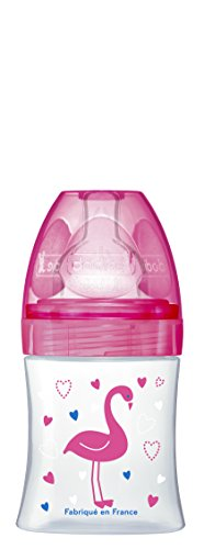 Dodie 6335948 fles Sensation+ 150 ml FuchSIE FLAMINGO 0-6 maanden platte zuiger, riviersnelheid 1, roze