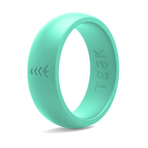 Silicone Wedding Ring for Women. Rubber Wedding Band for Every Day Use - Yoga, Training, Sports, Military, Work, Travel and Outdoor - Teal - Size 7