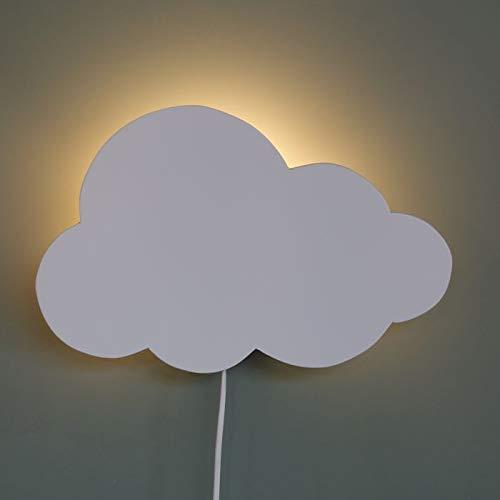 Wandlamp kinderkamer Wolkje - Wit houten lampje voor aan de muur