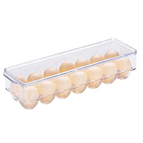 FEGSX Caja de almacenamiento de huevos para el hogar, organizador transparente, puerta lateral, rejilla de huevos, caja de almacenamiento de almacenamiento 0414 (color claro)