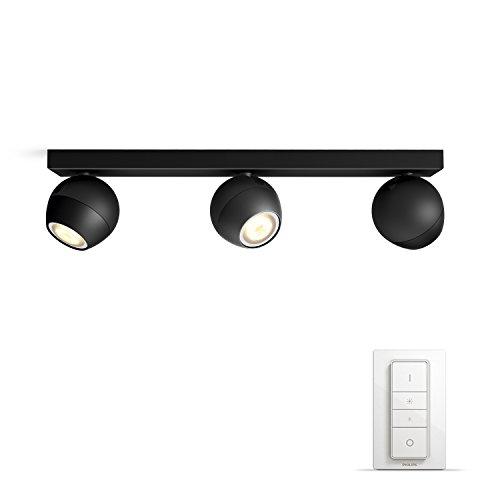 Philips Hue Buckram 3 Focos Inteligentes LED con Mando, Luz Blanca Cálida a Fría, Posibilidad de Control por Voz