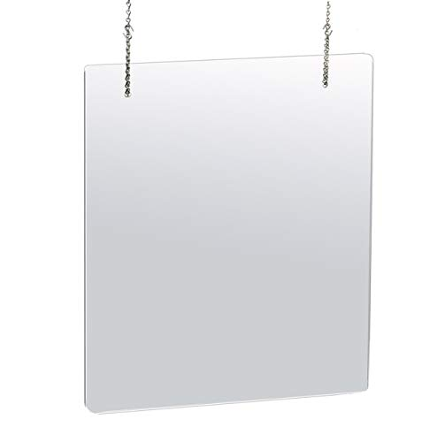 Azar Displays 30 in. X 40 in. Clear Hanging Adjustable Cashier Sheild, Sneeze Guard, Acrylic Protective Barrier -Vertical/Horizontal (pack of 2)