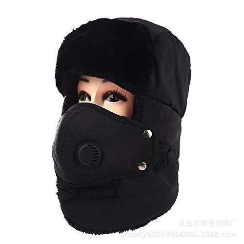 HTHY Sombrero de invierno cálido de felpa Lei Feng sombrero de equitación al aire libre resistente al frío máscara de viento transpirable protección para los oídos 57-60 cm negro