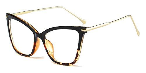 BOZEVON Moda Retro Fiesta Ojo de Gato Gafas Mujer Oversize Transparente Clásico Gafas de Sol, Negro-Leopardo/Transparente