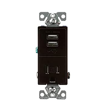 EATON TR7741B-BOX USB Charger with Single Tamper Resistant Receptacle Brown