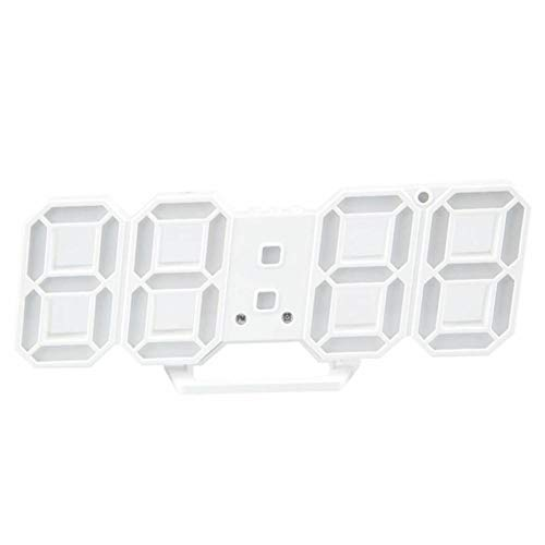FPRW Digitale wekker met 3D-led-klok, wandklok, snooze-display, 12/24 uur, eenvoudige smart-mute-operatie, wit