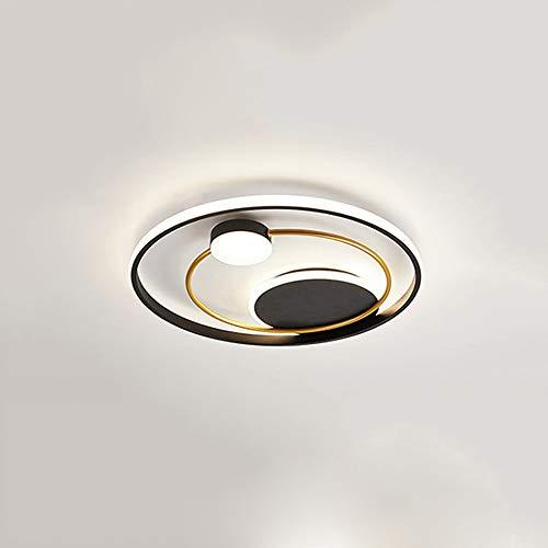 XDDJJZHX Plafoniere Moderne a LED Rotonde Dorate e Nere per Soggiorno Camera da Letto Apparecchi di Illuminazione per Interni Lampade da Incasso a soffitto dimmerabili (Color : B)