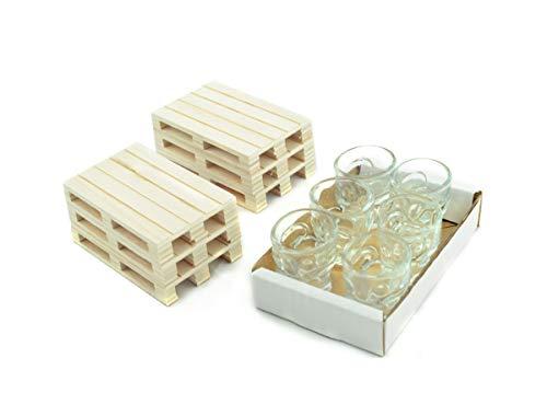 Hostelnovo - Pack Calavera : 6 chupitos Calavera 50 ml + 6 Mini palets de Madera - Celebraciones Originales - Chupitos innovadores