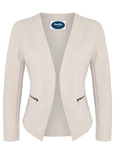 4tuality 4tuality AO Blazer kragenlos mit Zipper beige Gr. S