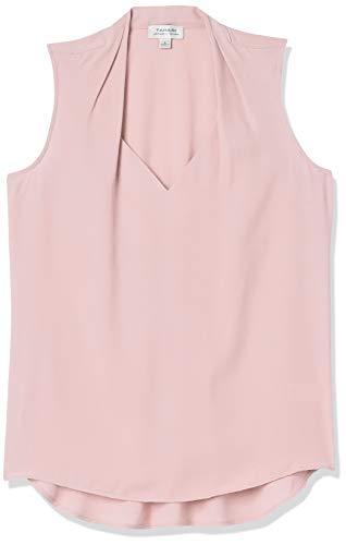 Tahari ASL Women's Sleeveless V-Neck Blouse, Pale Pink, L