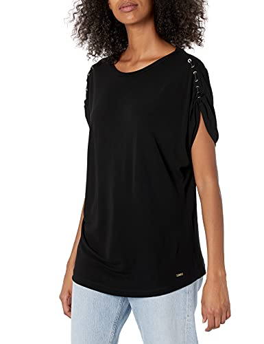 Armani Exchange Scoop Neck Drop Sleeveless Top, Shoulder with Metal Rings and Strap. Sudadera, Negro, L para Mujer