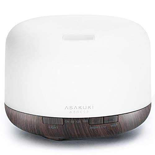 ASAKUKI 500ml Premium - Essential Oil Diffuser, 5 In 1 Ultrasonic Aromatherapy Fragrant Oil Vaporizer Humidifier, Purifies The Air, Timer and Auto-Off Safety Switch, 7 LED Light Colors