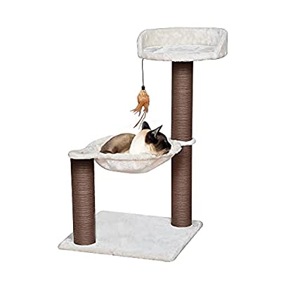 Catry, Cat Tree Hammock Bed with Natural Paper Rope Scratching Posts and Teasing Feather for Kitten (Version 2)