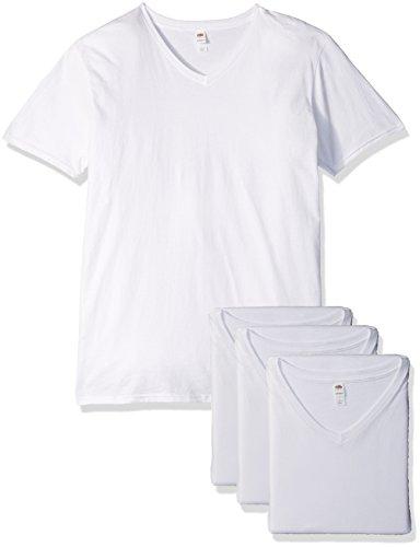 Fruit of the Loom Men#039s Lightweight Cotton Tees Short amp Long Sleeve VNeck  4 Pack  White Medium