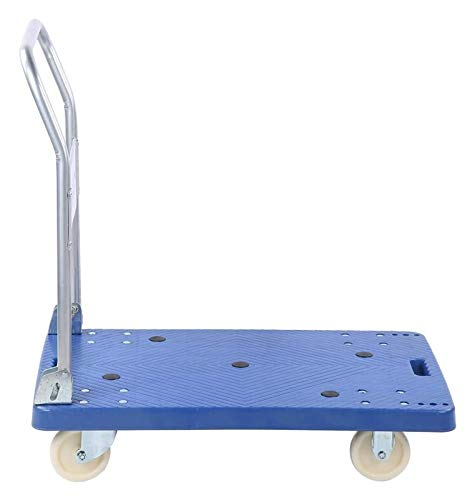 360 Kg Folding Hand Truck Heavy Duty Foldable Flatbed Trolley Trailer Flat Bed Pulley (Color : Blue, Size : 90x86x55cm)