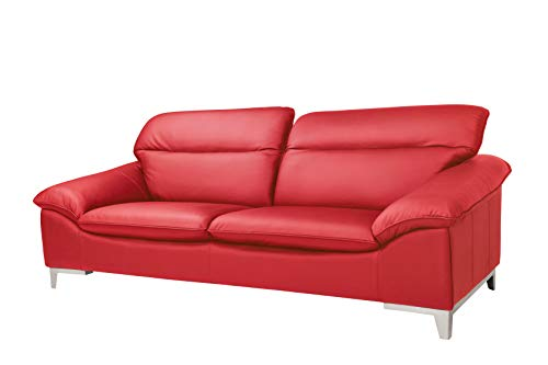 Mivano Ledersofa Teresa / Große Echtleder-Couch mit verstellbaren Kopfstützen / 235 x 84 x 109 / Leder Rot