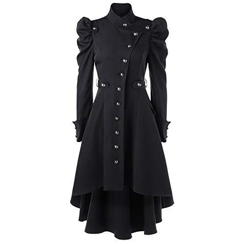 OverDose Damen Lange Jacke Anzugjacke Wintermantel Damen Vintage Steampunk Langer Mantel Gothic Mantel Damen Retro Jacke Party Jäten Elegant Cool Outwear(Schwarz,34 DE/L CN )
