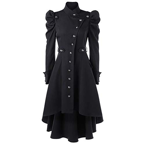 LEXUPE Women Autumn Winter Warm Comfortable Coat Casual Fashion Jacket Vintage Steampunk Long Coat Gothic Overcoat Ladies Retro Jacket Black steampunk buy now online