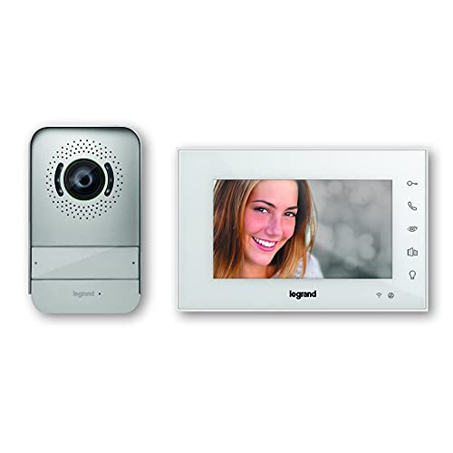 Videoportero conectado Easy kit de Legrand 369420. Solución Wifi. Incluye un monitor de vídeo interior con pantalla de 7 pulgadas a color e interfono exterior de visión nocturna gran angular, negro