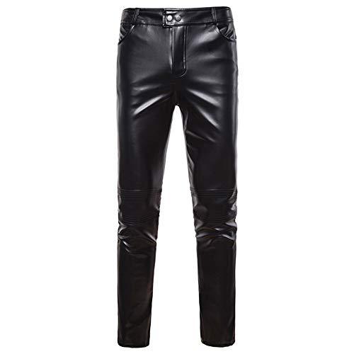 Klassisch Lederhose Herren, Mode Slim Fit Skinny Kunstlederhose Reißverschluss Lederjeans Lange Hose