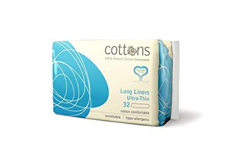 Cottons Extra Largo Salvaslip Algodón 100% - 32 Unidades