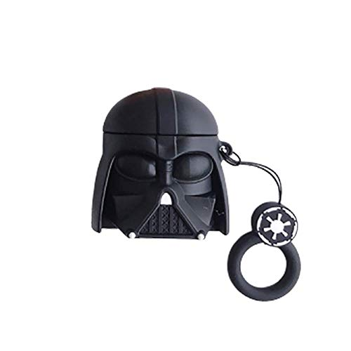 Airpod Hülle Darth Hautbezug mit 3D Star Warriors Stormtrooper Master Fashion Dekor Airpods Zubehör mit 45-teiligen Aufklebern (Darth)