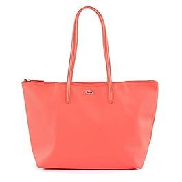 LACOSTE Sac à Main Dame avec Fermeture Eclair – Shopping Bag, 47x29x13cm (LxHxP) (Corail)