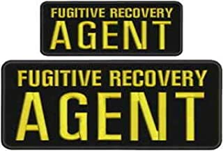 Fugitive Recovery Agent Embroidery Patches 4x10 and 2.5x6 Hook on Back blk/Gold by HighQ Store