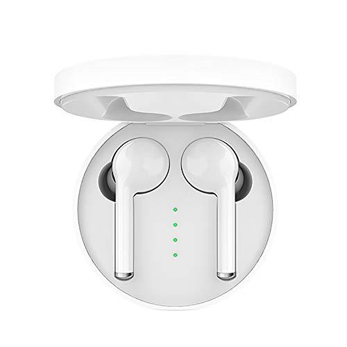 KawKaw Bluetooth Inear-Kopfhörer mit Ladebox, Noise-Cancelling & eingebautem Mikrofon - Kabellos Musik hören mit Wireless Mini-Headset für Sport, Flugzeug oder Motorrad (Weiß)