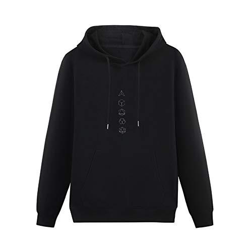 zxcvb Long Sleeve Sweater Ruifeng Platonic Solids Sacred Geometry Evolution Hoodies PulloverBlackS