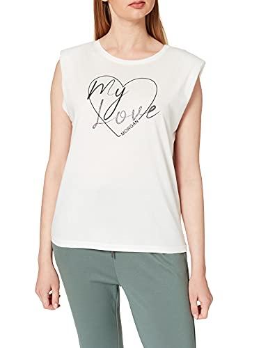 Morgan Tshirt SERIGRAPHIE A Epaulette 211-DMYL Camiseta, Off White, L para Mujer