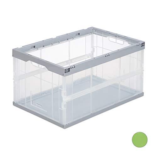 Relaxdays Professionele opvouwbare doos, stabiel, commerciële, hoogwaardige kunststof, kwaliteit, 60 liter, kist, h x b 31 x 59 x 39,5 cm