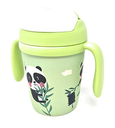 Vasos con boquilla y pajita de Bambú para niños de entre 1 a 4 años libre de BPA | 300ml | 13cm x Ø 7cm (Verde)