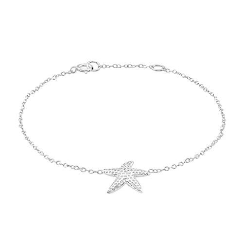 AUBE JEWELRY Hypoallergenic 925 Sterling Silver Beach Starfish Anklet for Women