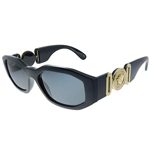 Versace VE 4361 GB1/87 Black Plastic Geometric Sunglasses Grey Lens