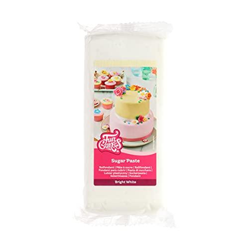 FunCakes Pasta di Zucchero Bright White: facile da usare, liscia, flessibile, morbida e pieghevole, perfetta per decorare torte, halal, kosher e senza glutine - 1000 g