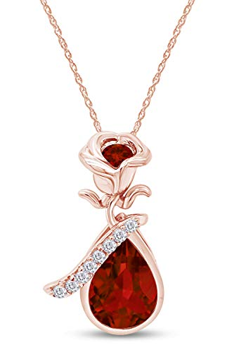 AFFY White CZ & Simulated Red Garnet Rose Teardrop Pendant Necklace in 14k Rose Gold Over Sterling Silver