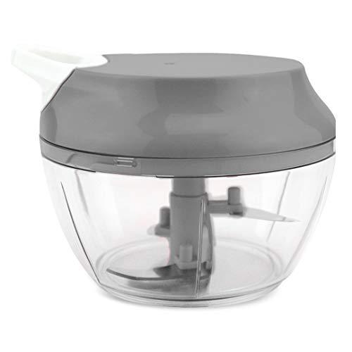 Mini Triturador Processador de alimentos manual alho cebola 3 Lâminas inox 550ml Cor:Cinza (FL)